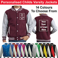 Personalised Childrens Varsity Jacket Kid College Lestterman Custom Printed