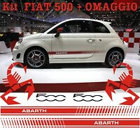 ADESIVI DECAL STICKERS KIT FASCE ADESIVE FIAT 500 ABARTH AUTO TUNING