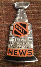 1972  NHL Stanley Cup  Press Pin New York Rangers vs Boston Bruins Sterling