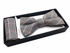 Men Pre-tied Bow tie and Handkerchief Pocket Square Hanky Set Wedding Prom Party