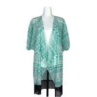 NWT LuLaRoe Monroe Kimono Women's Size Small Green w/ Black Fringe