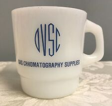 Vintage Milk Glass Gas Chromatography Supply Anchor Hocking FK Mug Advertising