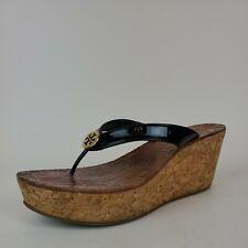 Tory Burch Thora black patent leather logo cork wedge platform sandals size 8