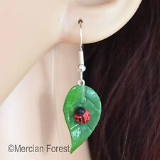 Ladybird & Leaf Earrings, Handmade Polymer Clay, Nature, Kitsch, Quirky, Ladybug