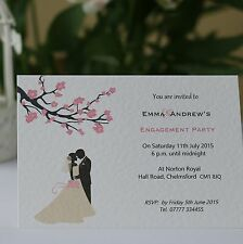 50 Personalised Engagement Invitations with envelope  - Blossom Silhouette