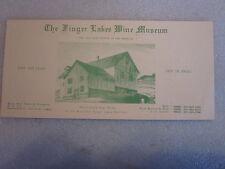 1970's The Finger Lakes Wine Museum NY pamphlet brochure blotter