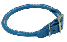 "Auburn Leather - Rolled Round Dog Collar - 8""-10"" - Royal Blue"