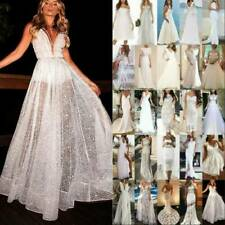 Womens White Lace Formal Wedding Dress Evening Party Prom High Slit Ball Gown
