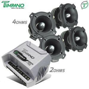 4x Timpano TPT-ST4 BLACK Tweeters + TPT-500.4 2 Ohms Compact 4 Channel Amplifier