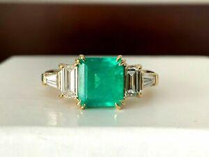 2.50 Ct Princess Cut Emerald & Diamond Engagement Ring 14K Yellow Gold Over