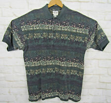 Point Zero Vintage 90s Funky Pattery Heavy Knit Cotton Polo Shirt Retro Baggy