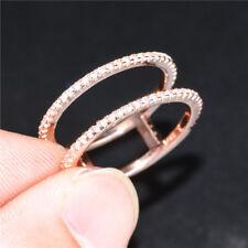 Elegant Rose Gold Filled Women's Wedding Rings Jewerly White Sapphire Size 10