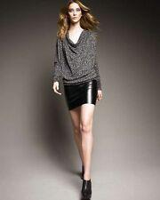 BLACK HALO  Alana Dress Black Gray Faux Leather  Animal Print Dress XS