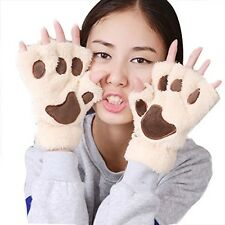 Women Bear Plush Cat Paw Claw Glove Soft Winter Gloves (Beige-1) For Cosplay