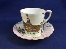 Vintage Pink & Gold Flowers and Building Small Cup and Saucer Set Demitasse