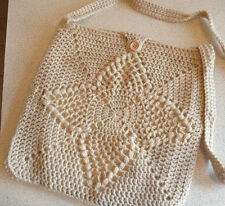 Hand Crocheted  lined shoulder bag with crocheted loop + button - beige 22cm