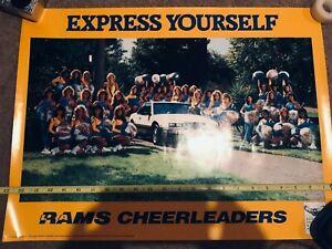 LA Los Angeles Rams Cheerleaders Buick Dealers SoCAL poster circa 1980s Unused