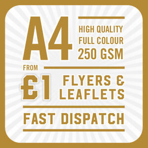 500 Full Colour Printed Flyers / Leaflets - A4 250gsm Gloss