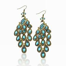 Acrylic Popular Crystal Gem Peacock Chandelier Retro Copper Dangle Earrings