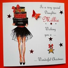 PERSONALISED HANDMADE CHRISTMAS CARD DAUGHTER GRANDDAUGHTER SISTER NIECE