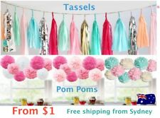 Paper Tassels Garlands  and Pom Poms Bunting Party Wedding Decoration pompoms