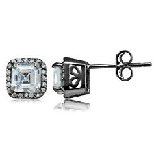 Black Rhodium Overlay Sterling Silver Cubic Zirconia Square Stud Earrings