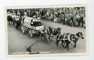 RPPC Real Photo Postcard parade float  in Calgary Stampede Parade - vintage