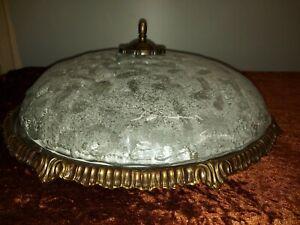 große alte Deckenlampe Plafoniere 46cm Eisglas Bronze Schröder&Co