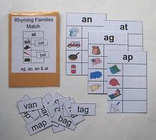 Teacher Created Literacy Center Resource Game Rhyming Families ag, ap, an & at