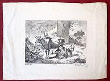 Burin, Etude d'animaux, Hertel d'après Berchem, XVIIIe