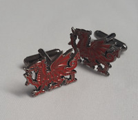 WELSH DRAGON CUFFLINKS GIFT POUCH BRAND NEW 30MM MENS GIFT BIRTHDAY