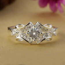 925 Sterling Silver  Crystal Wedding Engagement Wide Ring Gift Size 6-9