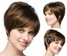 Hot Top Wig New Fashion Elegant Women's Short Natural Brown Straight Full Wigs