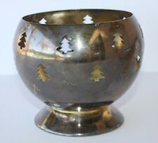 "Christmas Tree Silver Globe Candle Votive Holder 5"" Rustic Tea Light Cutout"
