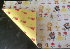 """BRAND NEW DOUBLE SIDED """"BELLE"""" INSPIRED PRINTED FABRIC SHEET..HAIR BOWS, CRAFTS"""