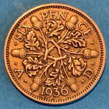 1936 Great Britain GB UK England 6 Pence 0.5000 Silver Coin