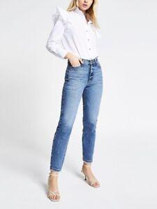 BNWT River Island High Rise Straight Leg Jeans - Blue Denim SIze 16R Eu 42R L25