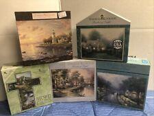 New Lot 5 Thomas Kinkade Puzzles 1000 pc Painter of Light Cross Lighthouse Ceaco