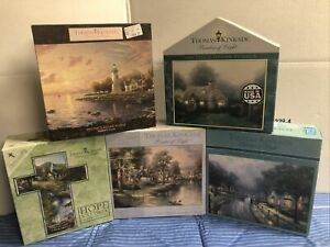 New Lot 5 THOMAS KINKADE PUZZLES 1000 pc Painter of Light Cross Lighthouse Ceaco
