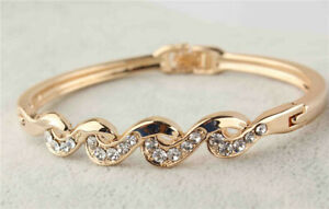 1pc Rose Gold Color Austrian Crystal Twist Bracelets for women Bangles Jewelry