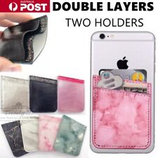 Leather Marble Mobile Phone Back Card Holder Wallet 3M Stick On Adhesive Cash