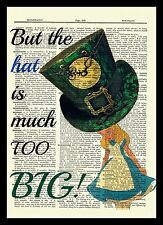 Alice in Wonderland Dictionary Art Print Book Mad Hatter Hat Picture Poster Tale