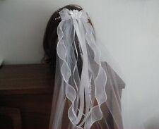 "First Communion  Veil,Sheer Bow w/satin flower center, 20"" Veil , New"
