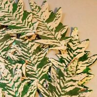 Vtg Christmas Paper Pulp Leaves 12  Mica Snow Foil Germany Ornaments Crafts 7.5""