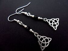 A PAIR OF TIBETAN SILVER CELTIC KNOT DANGLY EARRINGS. NEW.
