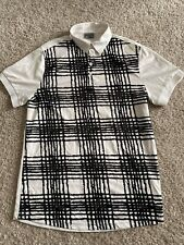 J Lindeberg mens white and black patterned polo short sleeve size S