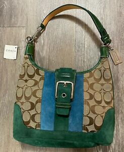 Coach Leather Blue Green Suede Small Hobo Purse FS7053 NEW NWT MSRP $268