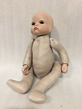 CHINA Porcelain Head & Hands Doll FABRIC BODY Jointed ARMS & FEET 12 in