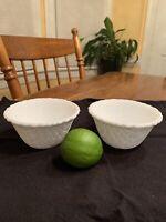 2 Indiana Glass WEAVETEX White Milk glass Basket weave Small Dessert Fruit Bowl