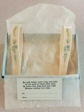 Vintage Baby Blanket Clips Hand Painted Celluloid or Plastic Original Box